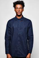 boohoo Long Sleeve Geo Shirt navy