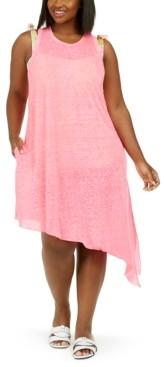 Becca Etc Trendy Plus Size Beach Date Asymmetrical Cover-Up Dress Women's Swimsuit