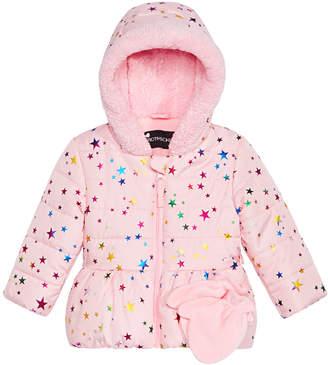 S. Rothschild Baby Girls Star-Print Hooded Jacket & Mittens