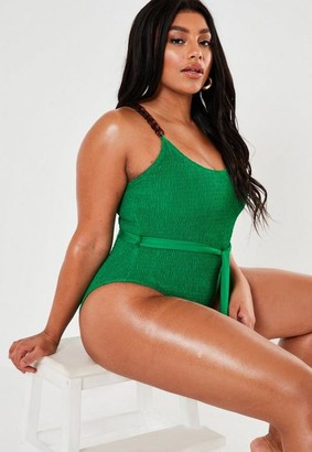 Missguided Size Green Crinkle Chain High Leg Swimsuit