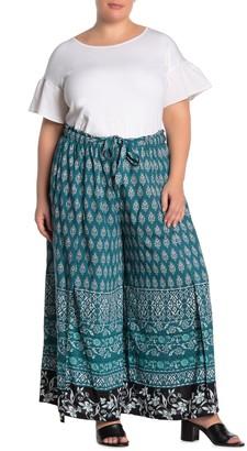 Angie Printed Drawstring Vented Pants (Plus Size)
