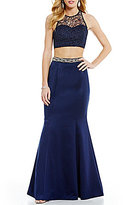 Sequin Hearts Two-Piece High Neck Lace Illusion-Yoke Beaded Ruffle Open-Back Trumpet Long Dress