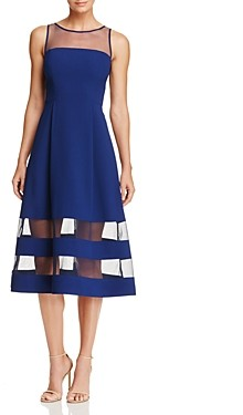 Aidan Mattox Illusion Fit-and-Flare Dress