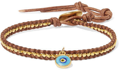 Chan Luu Evil Eye Leather, Gold-plated And Enamel Bracelet - Turquoise