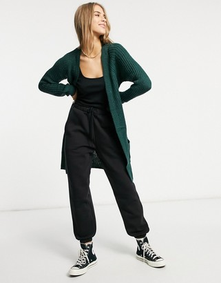 Only longline soft knit cardigan in green