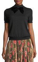 Kate Spade Short-Sleeve Blouson Sweater W/ Velvet Bow