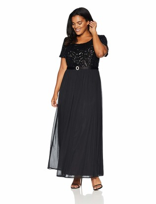R & M Richards R&M Richards Women's Ebroidered Sequins Jersey Chiffon