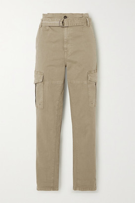 Frame Safari Cropped Belted Cotton-blend Twill Straight-leg Cargo Pants - Green