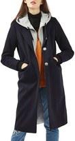 Topshop Hooded Layer Wool Blend Coat