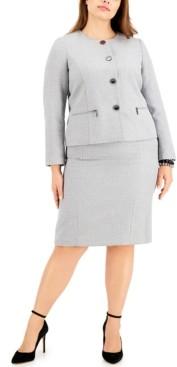 Le Suit Plus Size Metallic Tweed Skirt Suit