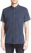 Life After Denim &Boro& Trim Fit Short Sleeve Quilt Print Weave Shirt
