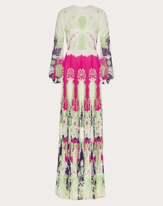 Valentino Printed Georgette Light Evening Dress Women Amethyst/multicolor Silk 100% 40