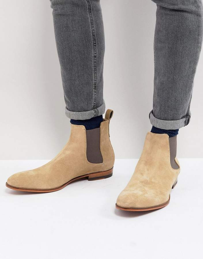 HUGO Suede Chelsea Boots in Beige