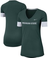 Nike Women's Green Michigan State Spartans Fan Tri-Blend Loose Fit Performance V-Neck T-Shirt