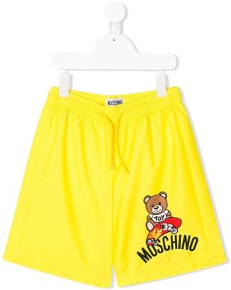 MOSCHINO BAMBINO Bear Logo Print Drawstring Swim Shorts