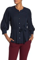 Current Air Long Sleeve Tie Front Blouse