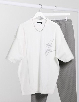 ASOS Dark Future oversized longline t-shirt with rib inserts and logo embroidery
