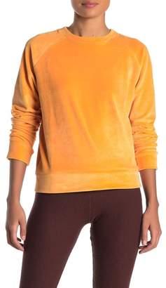Double Zero Round Neck Raglan Sleeve Velour Sweater
