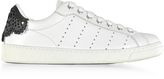 DSQUARED2 Santa Monica White and Floral Black Leather Women's Sneakers