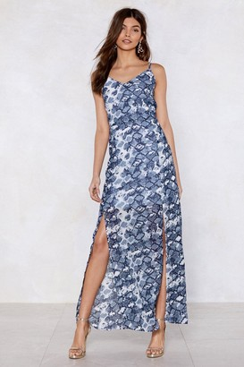 Nasty Gal Womens Snake Two Maxi Dress - Blue - 8, Blue