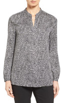 Nordstrom Split Neck Print Stretch Silk Blouse