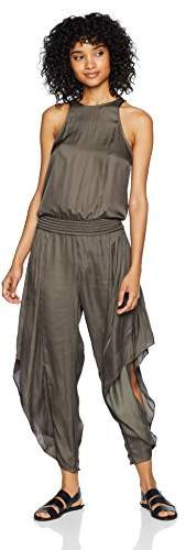 Halston Women's Sleeveless Round Neck Smocked Waist Flowy Jumpsuit