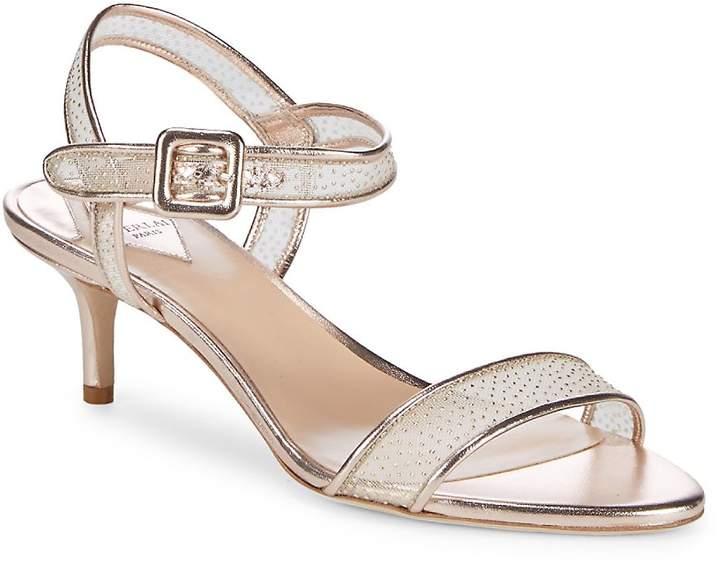 Aperlaï Women's Metallic Kitten Heel Sandals