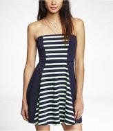 Express Strapless Center Stripe Skater Dress