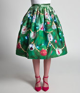 Unique Vintage 1950s Green Light Up Christmas Tree High Waist Swing Skirt