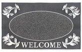 JVL Welcome Metallic Look Rectangular Floral Hard Wearing Entrance Floor Door Mat, PVC, Silver and Black