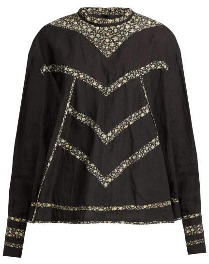 Isabel Marant Moony Oversized Linen Top - Womens - Black