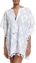Seafolly Embroidered Lace-Up Caftan Coverup