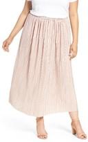 Sejour Plus Size Women's Crinkle Midi Skirt