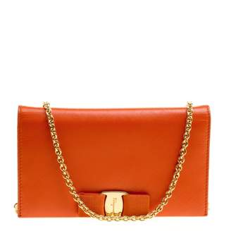 Salvatore Ferragamo Orange Leather Wallets