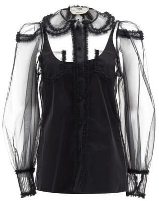 Fendi Ruffled Tulle Blouse - Black
