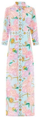 Hayley Menzies - Blue Pink Luna Flora Print Long Shirt Dress - s