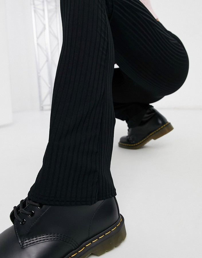 Thumbnail for your product : Collusion low rise rib legging flares in black