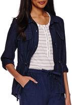Liz Claiborne Linen-Cotton Roll-Tab Cargo Anorak Jacket - Tall