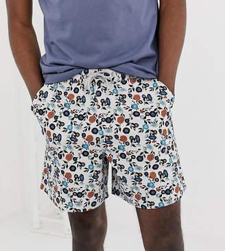 Asos Design DESIGN Tall slim shorter shorts in floral print-Gray
