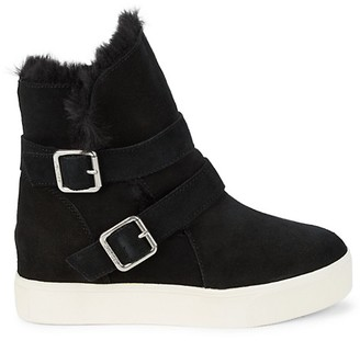 J/Slides Wells Faux Fur-Trim Suede Boots
