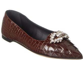 Giuseppe Zanotti Croc-Embossed Leather Flat