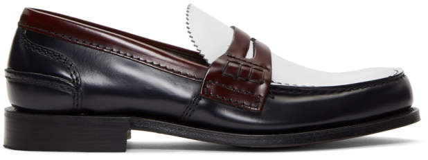 Church's Churchs Navy and White Pembrey Loafers