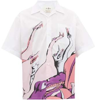 Marni X Bruno Bozzetto Print Cotton-poplin Shirt - Mens - White Multi