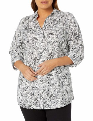 Foxcroft Women's Faith Layered Leaves Wrinkle Free Tunic