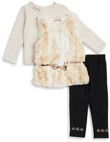 Little Lass Baby Girls Faux Fur Vest, Striped Top and Leggings Set