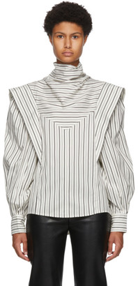 Isabel Marant White and Grey Silk Bianca Blouse