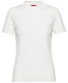 HUGO BOSS Slim-fit short-sleeved sweater with knitted lace effects