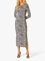 French Connection Cheetah Jersey Long Sleeve Maxi Dress