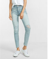 Express high waisted distressed cropped jean leggings