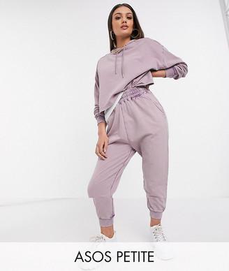 ASOS DESIGN Petite tracksuit hoodie / jogger in acid wash